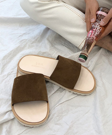 Cowhide atelier slippers