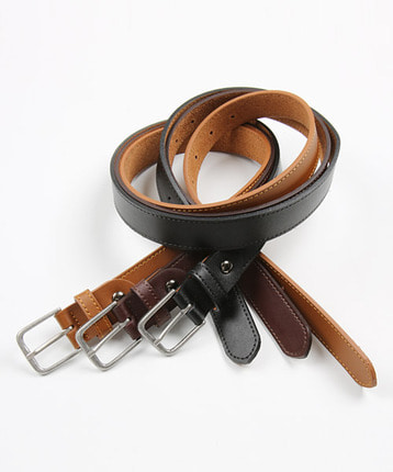 slim square leather belt